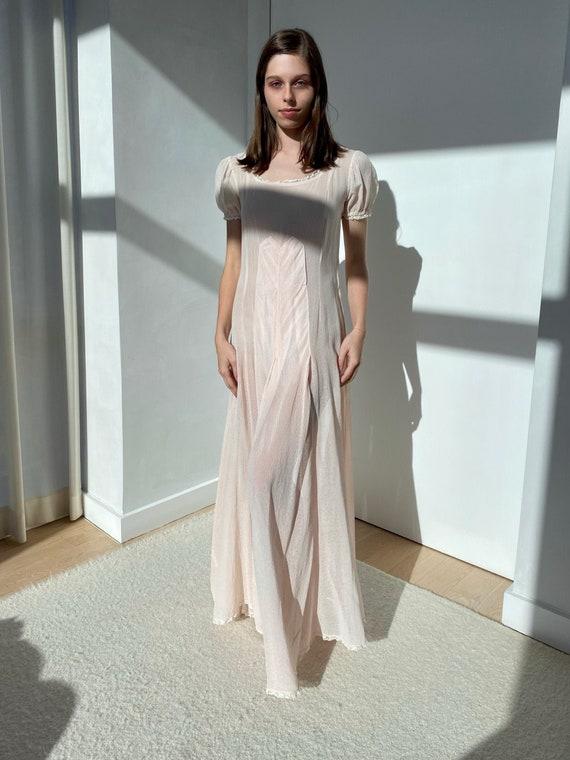 Vintage Original 1930s Pale Pink Silk Cloque Dres… - image 1