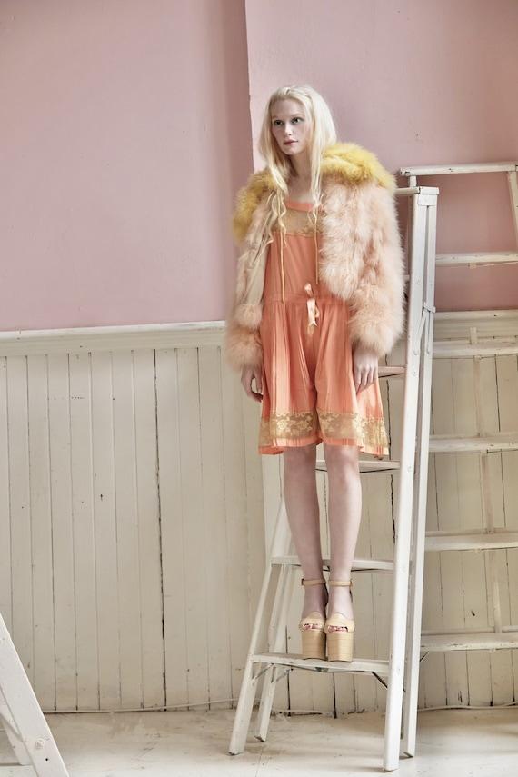 Vintage Silk tangerine culotte slip dress
