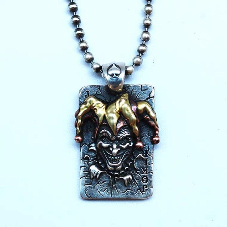 Joker pendant necklace silver necklace for men