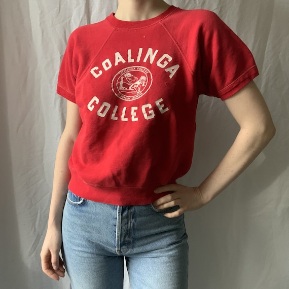 1950s Coalinga College Short Sleeve Raglan Sweatsh