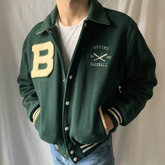 Green Vintage Letterman Jacket - Green Letterman J