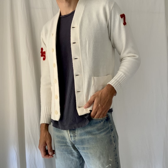 Vintage Cardigan - white vintage cardigan - 1950s