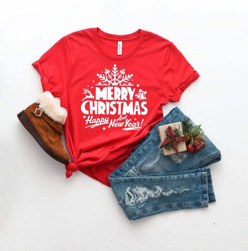 Matching Christmas Shirts Kids Christmas Shirt Women/'s Christmas Shirt Merry Christmas and Happy New Year Shirt Christmas T-Shirt