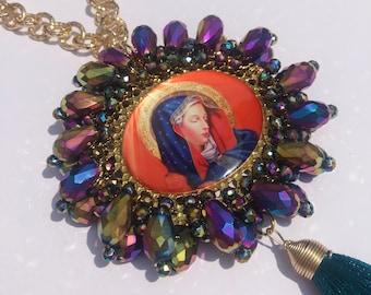 Virgen Mary - Saint Benedict Rear View Mirror Car Charm, Crystal Car Suncatcher, Blue Tassel Accessory, Religious Ornament, Catholic Medal.
