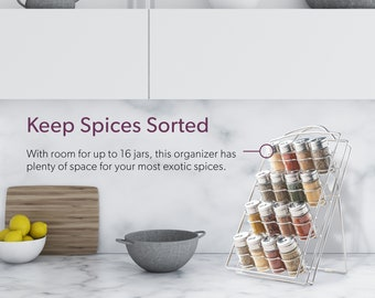 Inclined Spice Rack Organizer | 16 Jars Included by Mindspace