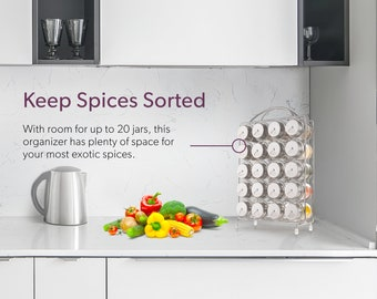 Spice Rack Organizer with Set of 20 Glass Spice Jars Included by Mindspace