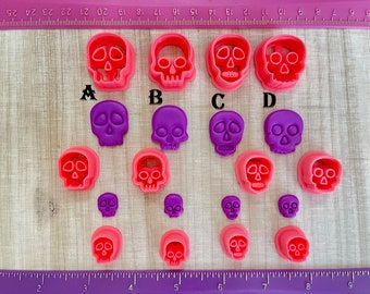 Halloween Skulls Embossing Cutter Day of the Dead for Cookie or Fondant & Polymer Clay, Jewelry Earrings Making  #688