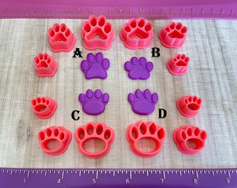 Dog Cat Paw Print Embossing Cutters for Cookie Fondant Polymer Clay, Jewelry Earrings Making   #232