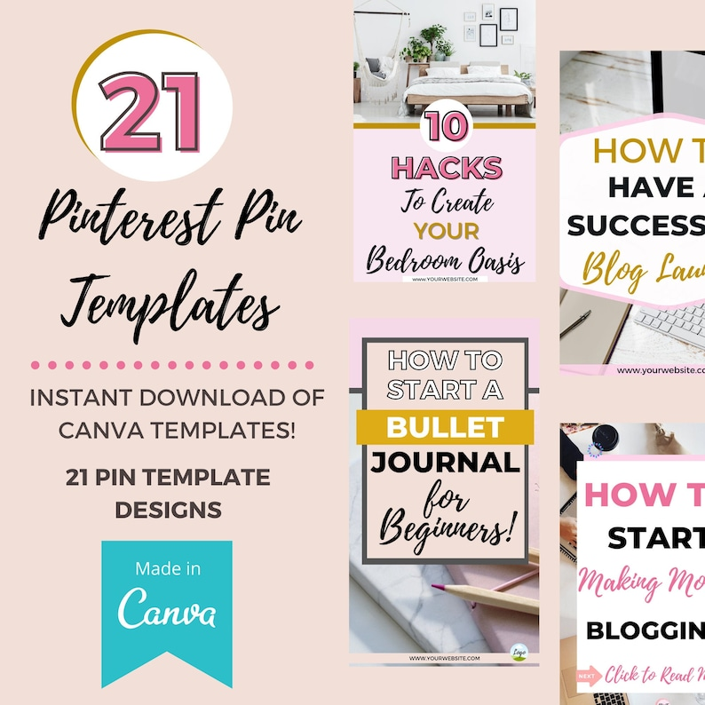 21 Pinterest Pin Templates for Canva Fully Customizable image 0