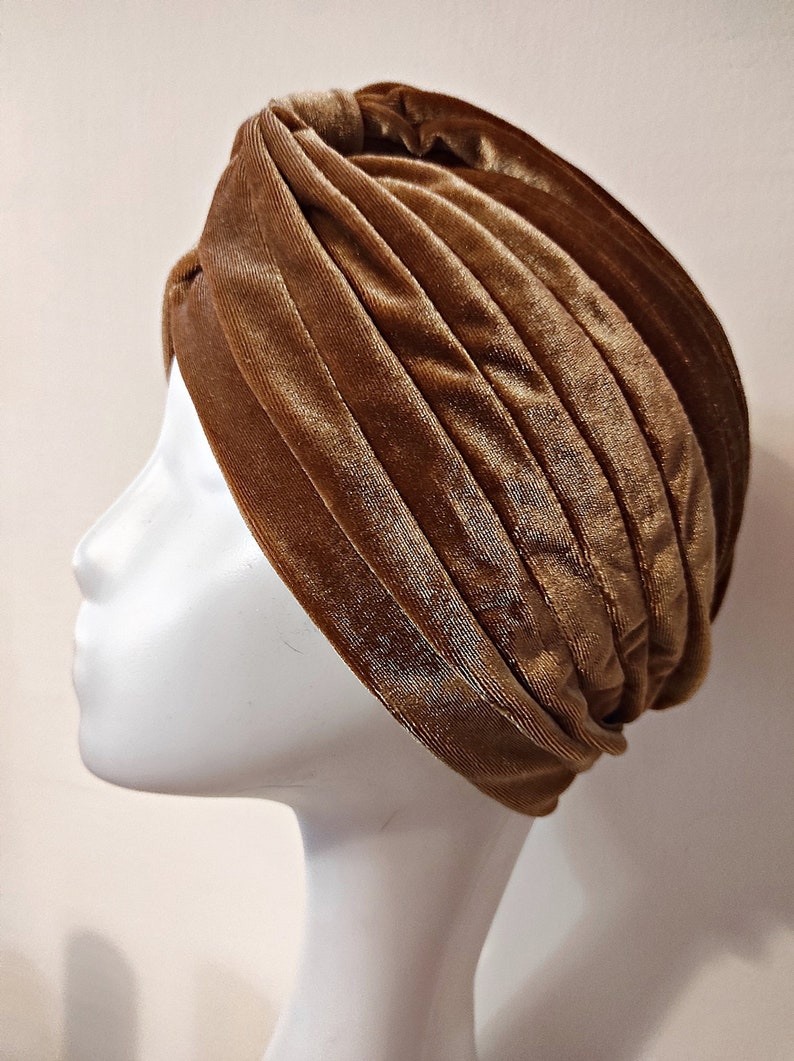 Hippie Hats,  70s Hats     Read the full title    Coffee-colored Velvet Turban Vinatege Retro Hair cap Hollywod turbans $24.18 AT vintagedancer.com