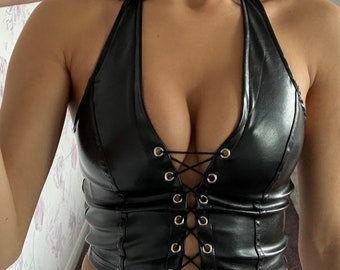 Warrior Cowgirl Leather Halter Tribal Fusion Western Clothing Black Leather Halter Top Hippie Top Bohemian Style Leather