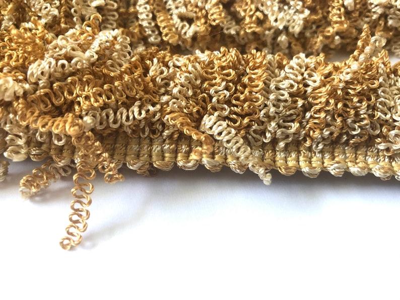 1 14\u201d Curly Brush Fringe-Warm Neutral Home Decor Trim Remnant-10 Yds Vtg