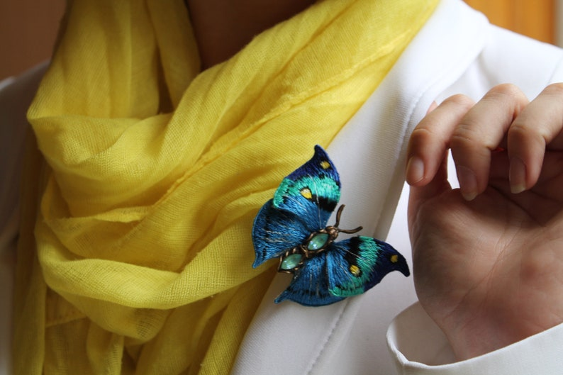vintage butterfly realistic embroidery blue butterfly brooch embroidered butterfly vintage style brooch
