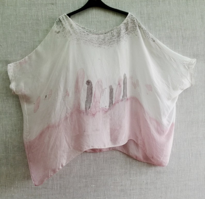 Womens pastel colored one size silk boho blouse with lining pinkwhite