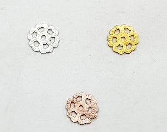 Pendant Charms 11mm Filigree Charms Flower Charms Bracelet Charms Copper Charms SilverGoldRose Gold Plated Charms