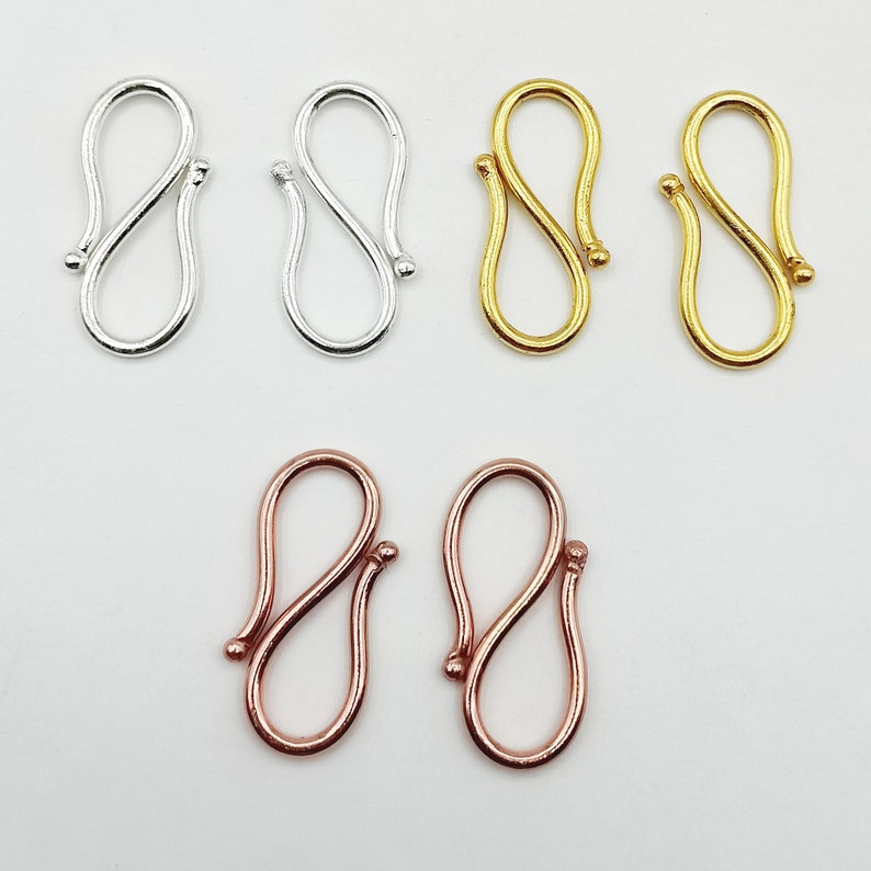 Copper S Hooks Necklace Connector Simple S Hooks 5 pc S Look S Clasp Large S Lock Wholesale Jewelry Components size approx 40mm