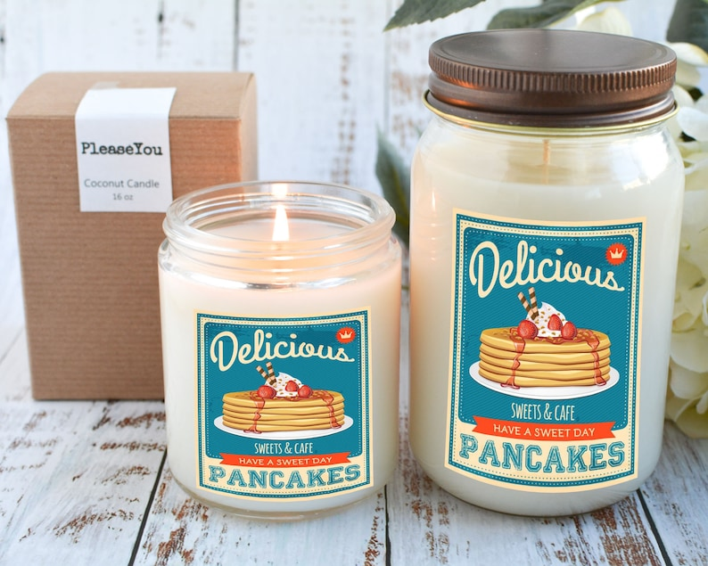Gift for Retro Lover Vintage Candle Pancake Scented Candle Retro Decor Retro Design Candle Gift for Her Pancake Candle Gift