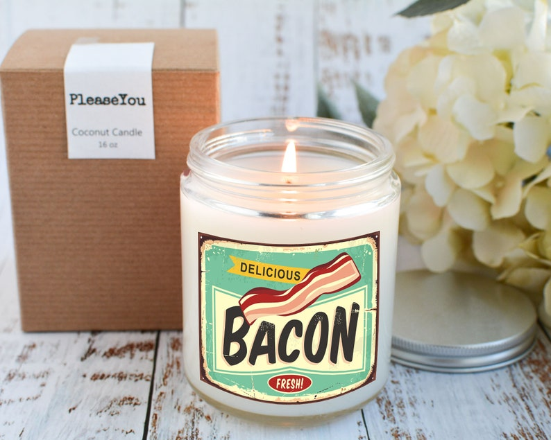 Gift for Retro Lover Bacon Candle Gift Bacon Lover Gift Vintage Candle Retro Decor Retro Design Candle Bacon Scented Candle