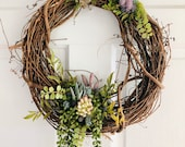 Succulent and Blue Thistle Wreath
