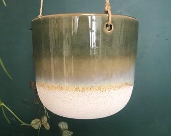Mojave Glaze Green Hanging Planter | Hanging Pot | Planter | Plant Hanger | Green