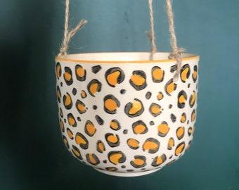 Leopard Print Hanging Planter | Indoor Planter | Hanging Pot | Hanging Planter | Leopard Print Hanger | Leopard Print Pot