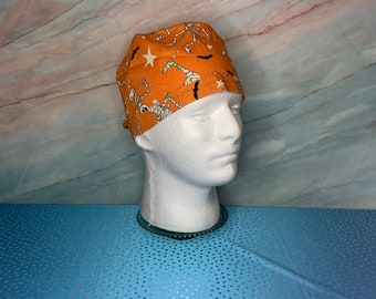128 Hot Orange and Black Scrub Cap with space for long hair or ponytail