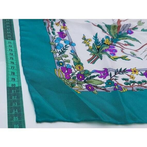 Gucci 100% Silk XL Multi-color, Floral Design Pea… - image 7
