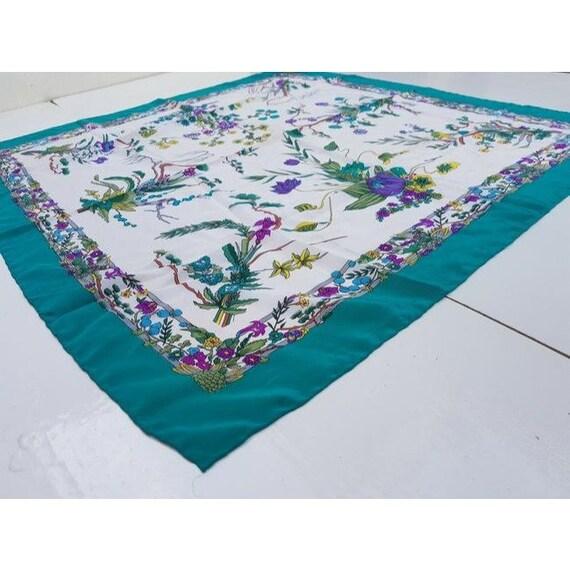 Gucci 100% Silk XL Multi-color, Floral Design Pea… - image 5