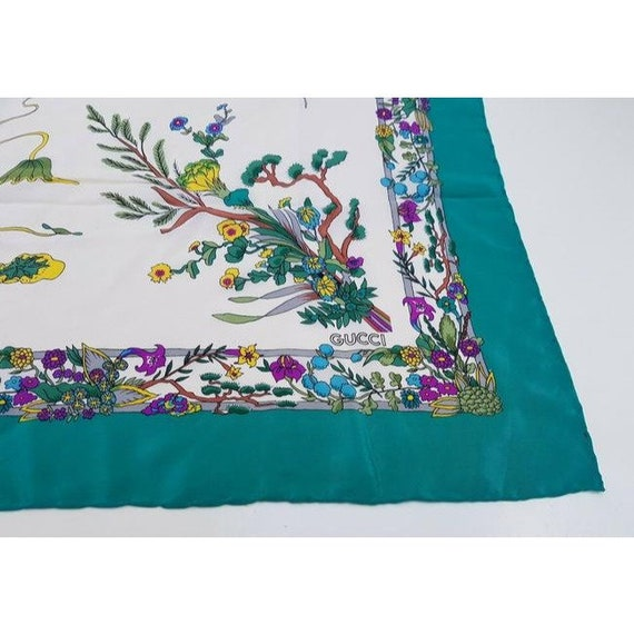 Gucci 100% Silk XL Multi-color, Floral Design Pea… - image 2