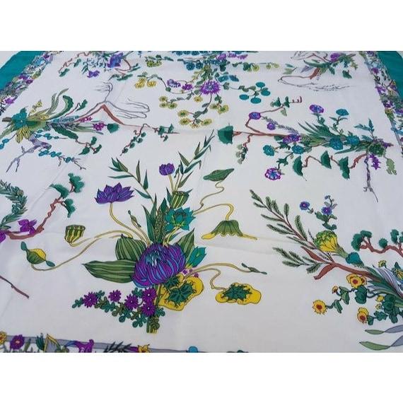 Gucci 100% Silk XL Multi-color, Floral Design Pea… - image 4