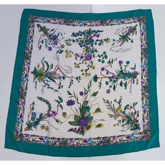 Gucci 100% Silk XL Multi-color, Floral Design Pea… - image 3