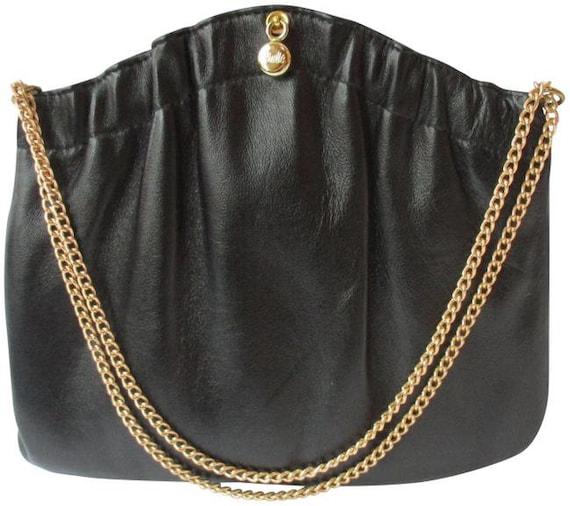 Ande' Vintage Soft 2-way Black Leather Satchel