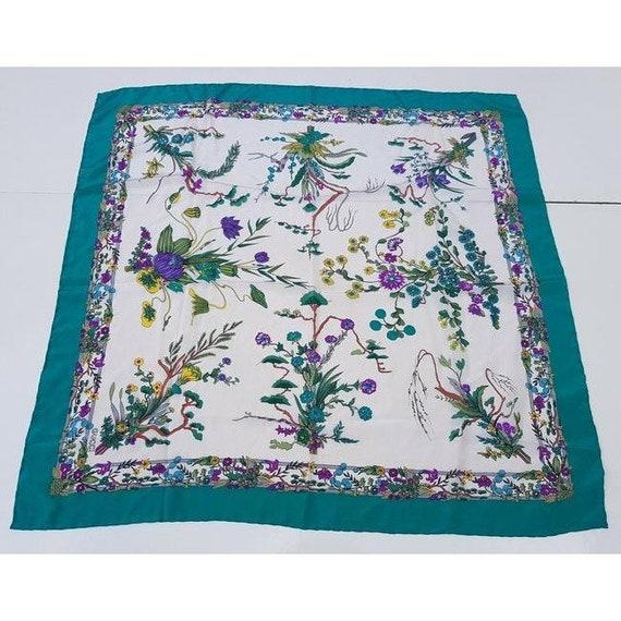 Gucci 100% Silk XL Multi-color, Floral Design Pea… - image 6