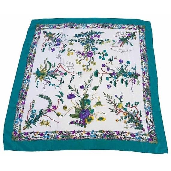 Gucci 100% Silk XL Multi-color, Floral Design Pea… - image 1
