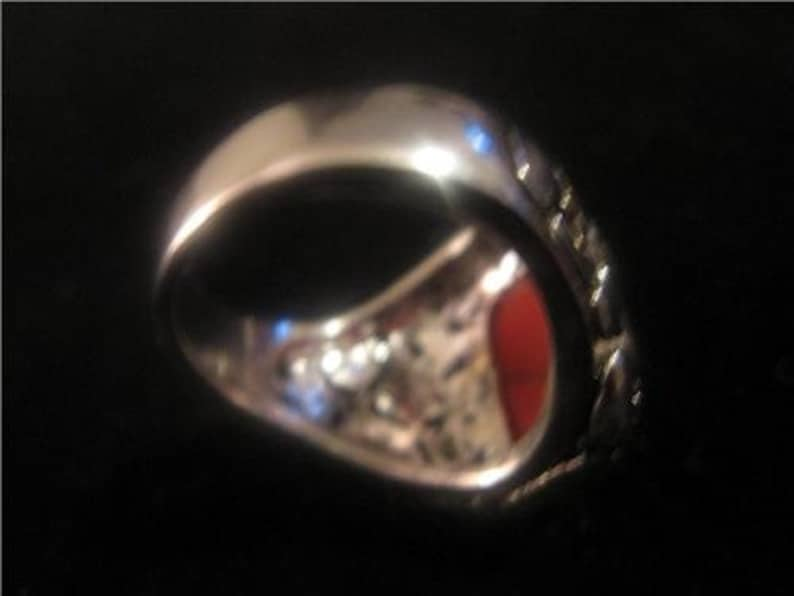 SPRING SALE Modernist Two Tone Sterling Rectangular Carnelian Signature Style Ring