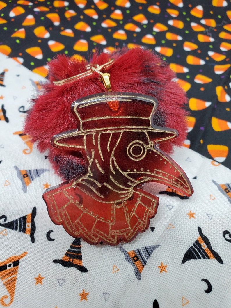 Plague Doctor Resin Keychain w Pom Spooky Halloween