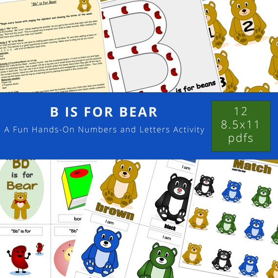 B is for Bear Unit Fun Hands-On Unit Homeschool Learning