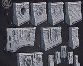 Sewers Wall Tiles - OpenLock Compatible Sewers of Thamarya 3D Printed Miniature Cast N Play 28mm 32mm Miniature