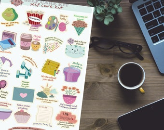 Self care kit printable planner stickers (instant download)