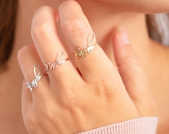 Valentines Day Gift Stack Rings Custom Rings Ring With Name Personalized Rings Name Ring Stackable Name Rings Stacking Rings