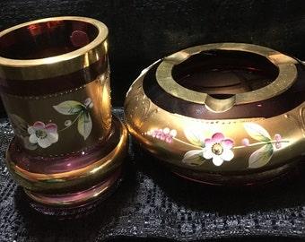 Vintage Bohemian Czech Crystal Egerman Cranberry Vase SetCirca 1950's 24K gold Raised Flowers