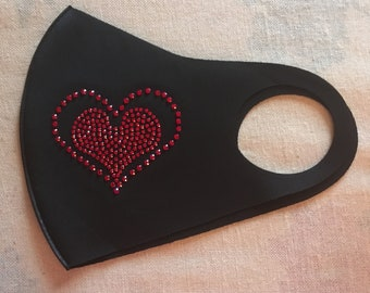 Heart Face Mask Black with Red Crystals NEW FREE Shipping