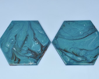 Dark Turquoise  - Resin Art Coasters