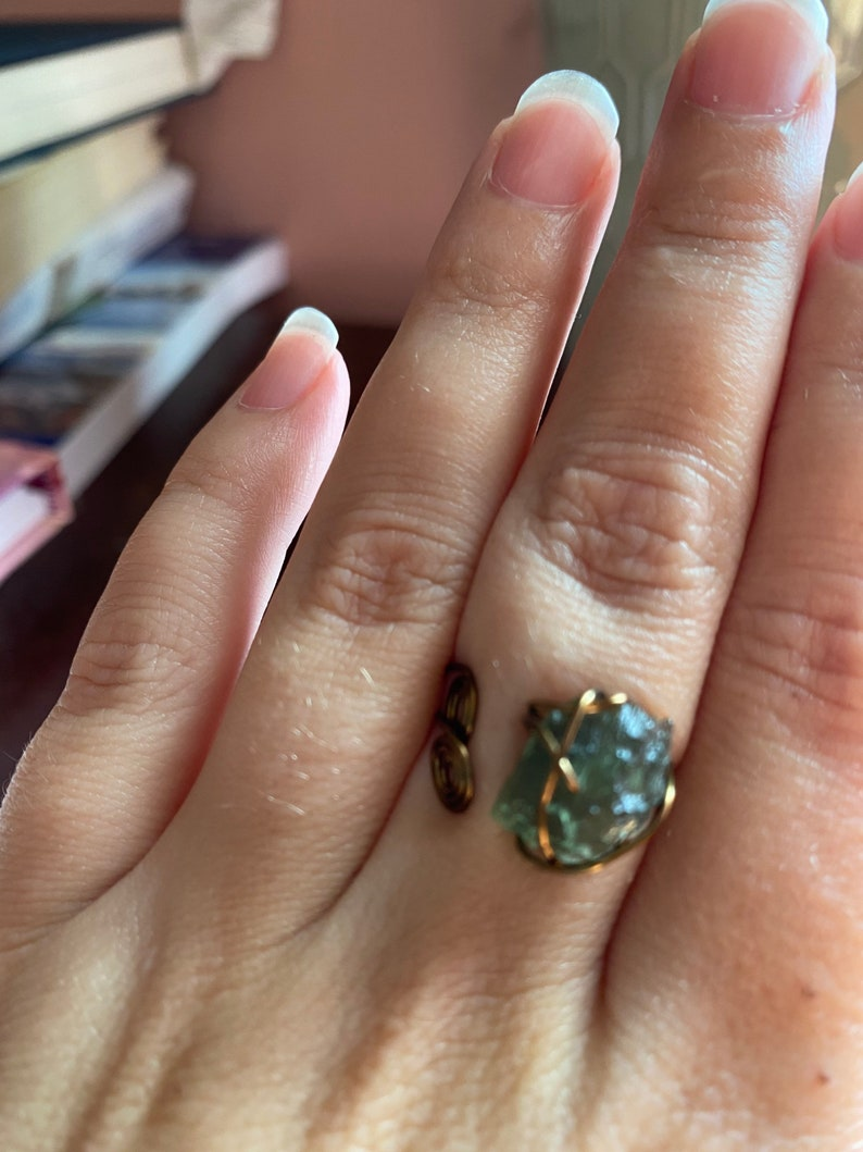 wire wrapped jewelry Powerful authentic Moldavite Ring,Moldavite jewelry stone of transformation healing crystals