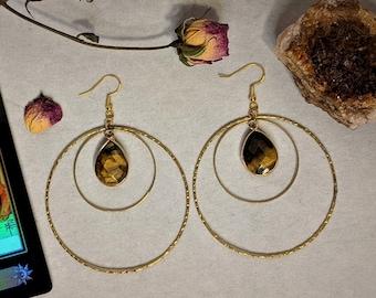 Tiger's Eye Hoop Earrings | Gemstone Jewelry | Gifts For Her