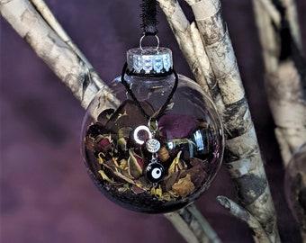 Witch Ball | Evil Eye UV Reactive Charm | Black Tourmaline | Black Salt | Sage | Rosemary | Protection | Hex Banishing | Energy Cleansing