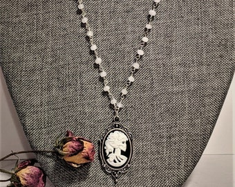 White Jade Rosary Bead | Sterling Silver Chain | Victorian Skeleton Necklace | Gifts For Her | Unique Gifts