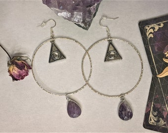Amethyst | Divine Eye Hoop Earrings | Unique | Gifts For Her | Jewelry | Enhance Intuition