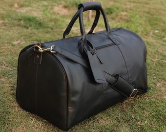 leather duffel weekender bag men overnight bag PERSONALIZED leather duffle travel bag for him weekend gym bag black gifts for him boyfriend