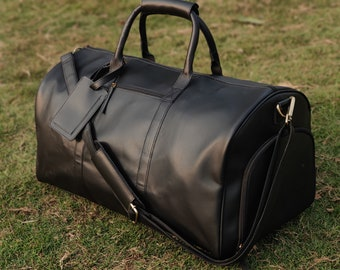 leather duffel bag weekender men personalized duffle shoe compartment full grain leather weekend overnight oversized travel bag gift for him